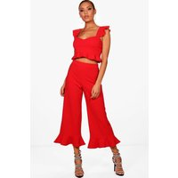 Womens Frill Bralet & Hem Trouser Co-Ord Set - Red - 10, Red