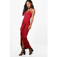 Knot Front Jersey Maxi Dress - berry