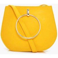 Large Ring Saddle Cross Body Bag - yellow