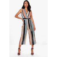 Womens Striped Tie Belt Culotte Jumpsuit - Multi - 8, Multi