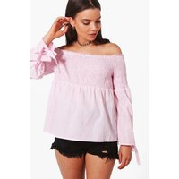 Woven Stripe Off The Shoulder Top - pink