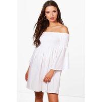 Off The Shoulder Sun Dress - white