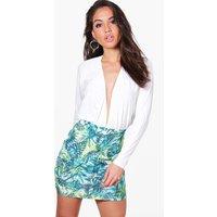 Palm Print Mini Skirt - multi
