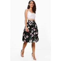 Floral Woven Box Pleat Midi Skirt - black