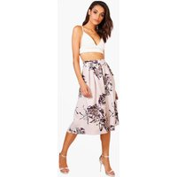 Floral Box Pleat Skater Skirt - lilac