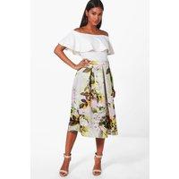 Summer Floral Box Pleat Skater Skirt - multi