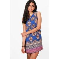 Paisley Border Sleeveless Shift Dress - blue
