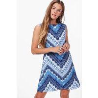 Scarf Print Shift Dress - blue