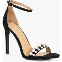 Pearl Detail Front Strap Two Part Heel - black