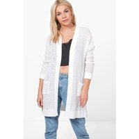 Crochet Knit Turn Up Sleeve Cardigan - white
