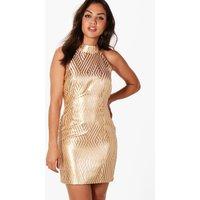Jacquard Stripe Bodycon Dress - gold