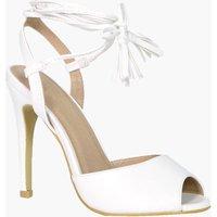 Peeptoe Wrap Strap Detail Heels - white