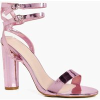 Double Buckle Ankle Band Cylinder Heel - blush