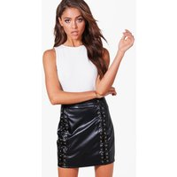 Leather Look High Waist Lace Up Mini Skirt - black