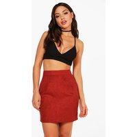 Suedette A Line Mini Skirt - terracotta