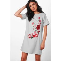 Embroidered Shift Dress - grey
