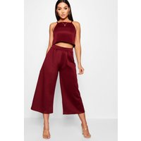 Womens Rose Strappy Crop & Culotte Co-Ord Set - red - 8, Red