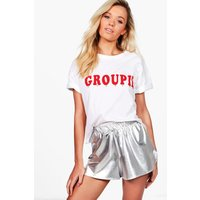 Slogan Embellished T-Shirt - white