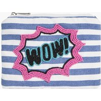 Wow Slogan Canvas Purse - blue