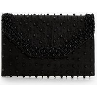 Suedette Faux Pearl Clutch Bag - black
