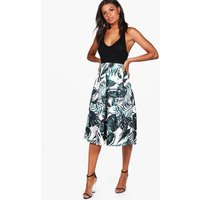 Palm Print Box Pleat Midi Skirt - multi