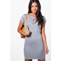 Cap Sleeve Bodycon Dress - grey