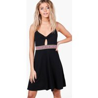 Aztec Trim Strappy Skater Dress - black