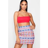 Premium Embroidered A Line Mini Skirt - multi