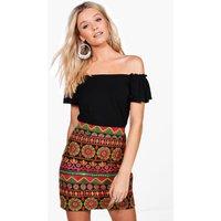 Premium Embroidered A Line Mini Skirt - black