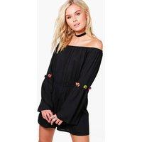 Off Shoulder Pom Pom Trim Flare Sleeve Playsuit - black