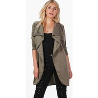 Womens Ponte Wrap Front Duster Jacket - green - 12, Green