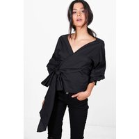 Woven Ruched Sleeve Wrap Front Blouse - black