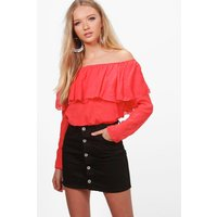 Textured Woven Off The Shoulder Top - orange