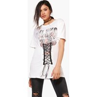 Oversized Corset Band Print T-Shirt - white