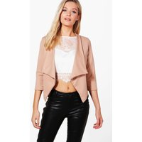Shawl Collar Crop Blazer - camel