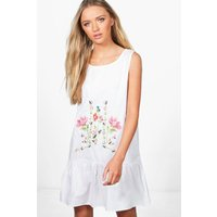 Embroidered Smock Dress - white