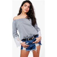 Stripe Woven Crochet Sleeve Top - dark blue