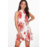 Pleat High Neck Floral Swing Dress - ivory