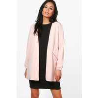 Zip Detail Collarless Duster - nude
