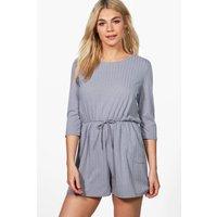 Rib Knit Lounge Playsuit - grey