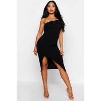Womens One Shoulder Wrap Skirt Midi Dress - black - 8, Black