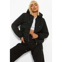 Womens Hooded Padded Jacket - Black - 10, Black