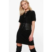 Lace Up Corset Belt 2 in 1 T-Shirt Dress - black