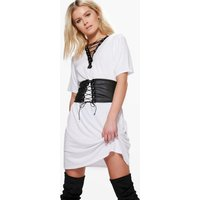 Lace Up Corset Belt 2 in 1 T-Shirt Dress - white