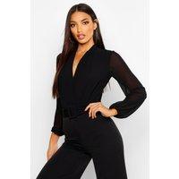 Womens Drape Chiffon Long Sleeve Woven Bodysuit - Black - 16, Black