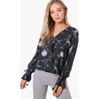 Printed Wrap Over Blouse - black