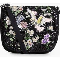 Bird & Floral Embellished Saddle Bag - black
