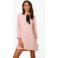 Woven Scarf Shirt Dress - pink