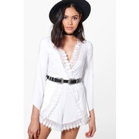 Crochet Trim Playsuit - ivory