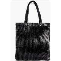 Plisse Effect Metallic Shopper Bag - black